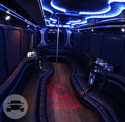 30 Passenger Limo Party Bus | Black Exterior Party Limo Bus  / Stafford, TX 77477   / Hourly $0.00