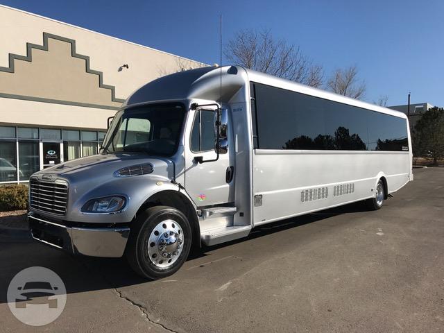 38 Passenger Limo Bus Silver Denver Party Bus Online